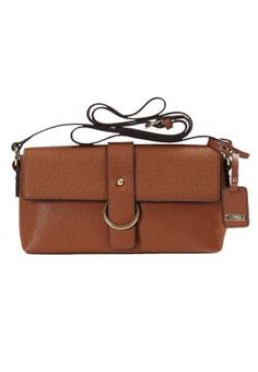 911f8a0b6492 L.Credi Leather bag with long carrying strap and closing flap. Online  Shopping For