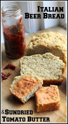 Italian Beer Bread & Sundried Tomato Butter recipe, an easy bread with a quick sundried tomato butter spread. A great homemade snack or appetizer recipe. Easy Bread Recipes, Gourmet Recipes, Dip Recipes, Recipies, Bagels, Croissants, Tomato Butter Recipe, Beer Bread Recipe Tastefully Simple, Honey Beer Bread