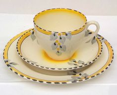 BURLEIGH WARE ART DECO ZENITH SUNSHINE PATTERN TRIO ( PALE YELLOW ) | eBay Green And Orange, Yellow, Tea Service, Chocolate Pots, Vintage China, Teapots, Pattern Art, Cup And Saucer, Tea Cups