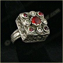 Tribe Nawaar Treasure Box Ring Red Antique Silver Edgy Size 8.5 Traditional Tribal Fusion Belly Dance Jewelry Ethnic Exotic OOAK Square Ring Bohemian