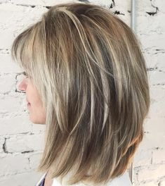 Lob With V-Cut Layers And Bangs