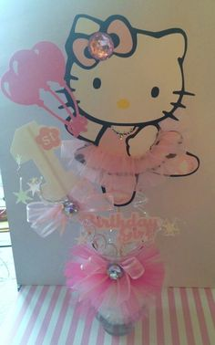 Hello kitty centerpiece, decoration, party and like OMG! get some yourself some pawtastic adorable cat apparel! Hello Kitty Theme Party, Hello Kitty Baby, Hello Kitty Themes, Hello Kitty Birthday, Hello Kitty Centerpieces, Kids Party Centerpieces, Diy Party Decorations, Party Themes, Party Ideas