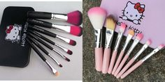 Pro Hello Kitty Makeup Cosmetic Brush 7PCS Set Kit Iron Metal Box Cute Gift Hot