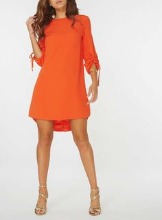 9562628d2ea Orange Ruched Sleeve Shift Dress