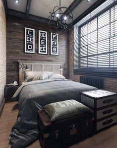 E é um quarto pequeno que foi decorado com opções pra guardar coisas como estes baús aí na frente da cama. E a luminária acoplada na parede da cama pra pou