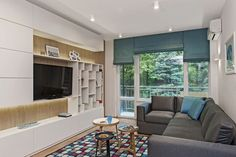 Mieszkanie w bloku: jasne i przytulne wnętrze Flat Screen, Loft, Curtains, Interior Design, Bed, Furniture, Home Decor, Ideas, Lounges