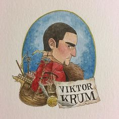 Viktor Krum! In the books he was described as having thick brows and a hooked nose (I think) and so I just played off the actor's features and exaggerated them a bit. I think Krum and Hermione was such an unexpected and cute pairing