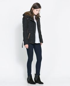 Image 1 of SHORT QUILTED JACKET WITH HOOD from Zara