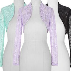 Fashion Women's Sheer Cropped Cover up jacket Stretch Lace Bolero Shrug Tops New #BellePoque #CropTop #Casual
