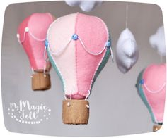 Felt ornament Hot air balloon Nursery Travel decorations Hot air balloons baby Room decorations