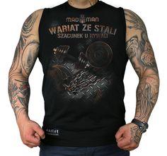 Bezrękawnik 'Wariat ze Stali' - przód ---> Streetwear shop: odzież uliczna, kibicowska i patriotyczna / Przepnij Pina!