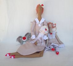 Group of Fabric Dolls Angel of Stakes Day  for  Melbourne's Spring Racing Carnival  Handmade Art Dolls in beige white polka dots dress Gift