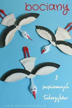 bociany z papierowych talerzyków. Platos de Papel.