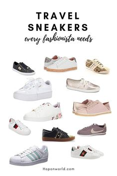 The most comfy and stylish travel sneakers for fashionistas Are you looking for comfy and stylish travel sneakers without worrying how it pairs with your insta-ready outfit? We set out 16 pairs of gor Comfy Shoes, Comfortable Shoes, Travel Wardrobe, Travel Outfits, Travel Ootd, Travel Wear, Packing List For Travel, Packing Lists, Traveling Tips