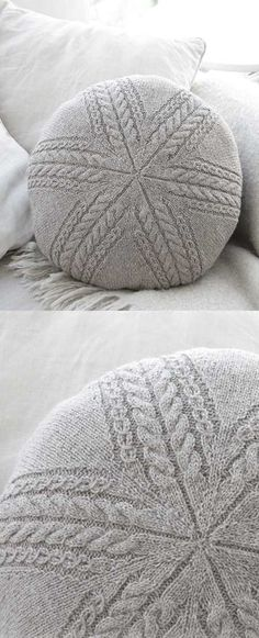Round Pillow Sand Tracks Pillow Free Cable Knitting Pattern