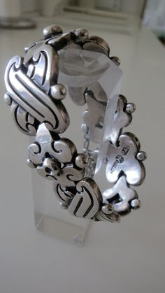 Early Hector Aguilar Mexican Taxco 940 Silver Fertility Bracelet 101 Grams 7 in  #HectorAguilar