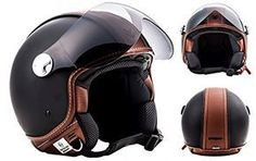 ARROW HELMETS AV-84 Vintage Deluxe Helmet Biker Jet-Helm Vespa-Helm Scooter-Helm Mofa Roller-Helm Chopper Vintage Motorrad-Helm Cruiser Pilot Retro Bobber, ECE zertifiziert, inkl. Stofftragetasche, Braun (Vintage Deluxe), M (57-58cm)