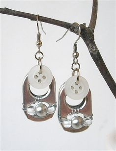 Soda Pop Tab Earrings - Fresh - White - for girls, teens and women - upcycled/recycled/eco-friendly - under 15.00