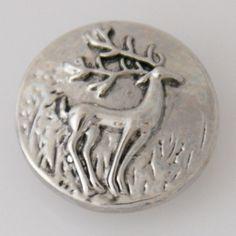 1 PC 18MM Deer Animal Antique Chunk Pop Charm Zinc Alloy Silver Snap Popper Fits Bracelet Interchangeable kb5434 CC0023 Diameter Size: 18MM Material: Zinc Alloy