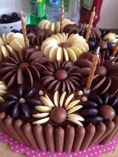 Chocolate Button Cake floral pattern milk, white and dark chocolate buttons Chocolate Button Cake, Chocolate Buttons, Chocolate Flowers, Chocolate Frosting, Chocolate Desserts, White Chocolate, Baking Recipes, Cake Recipes, Dessert Recipes