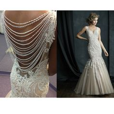 We swoon over the back of this Allure Couture gown!  Them old wedding gown is perfect for an evening wedding and an update on the Gatsby style. Gorgeous!