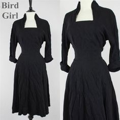 ORIGINAL WARTIME WW2 1940S VINTAGE BLACK ART DECO LANDGIRL SWING DRESS 10 S