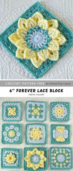 Forever Lace Crochet Block FREE - - Beautiful flower collection bases on the First baby CAL square, all flowers: Crocodile Stitch Afghan Block - Dahlia Brighter. Granny Square Pattern Free, Crochet Motifs, Crochet Quilt, Granny Square Crochet Pattern, Crochet Blocks, Crochet Pillow, Afghan Crochet Patterns, Knit Crochet, Ravelry Crochet