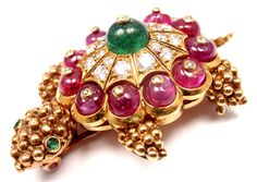 VAN CLEEF  ARPELS Turtle Diamond Emerald Ruby Yellow Gold Pin Brooch | $20,000