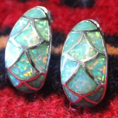 fire opal earrings Gemstone silver jewelry cocktail exquisite design 1AS2