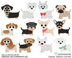 Puppies Digital clip art part 1 for Personal and Commercial use - INSTANT…
