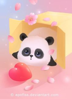 Panda with heart Niedlicher Panda, Panda Love, Cute Panda Wallpaper, Kawaii Wallpaper, Panda Wallpapers, Cute Cartoon Wallpapers, Cute Animal Drawings, Cute Drawings, Cute Images