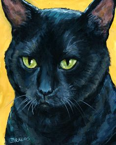 Cat Painting - Thinking Black Cat by Dottie Dracos