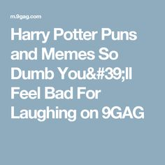 Harry Potter Puns and Memes So Dumb You'll Feel Bad For Laughing on 9GAG