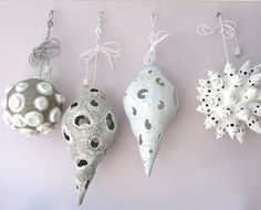 Four paper mache lamps hanging in my small shop! Ballroom - April - Crackle - White Towers. Designed by Marion Westerman, The Paper Moon Factory.