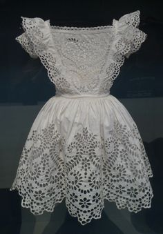 Broderie Anglaise - Boy's frock, white plain-weave cotton with whitework broderie anglaise, probably English, c. 1855. Los Angeles County Museum of Art M.2007.211.89