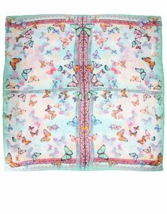 Wow Butterfly Silk Digital Square Scarf