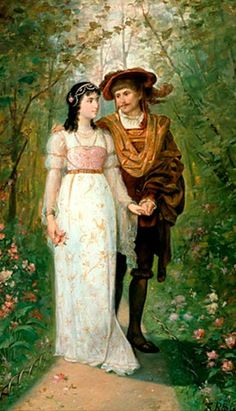 <장미 정원에서의 르네상스의 커플 (Renaissance couple in the Roses Garden)>  F. Reup 이 작품은 유일하게 작가가 자세히 알려지지 않은 작품이다. 단지 F. Reup라는 이니셜이 새겨져 있을뿐 자세한 정보를 찾기 어려웠다. 그럼에도 불구하고 이 그림을 선택한 이유는 서로 사랑하는 연인의 모습을 매우 잘 표현한것 같아서이다. 늠름한 백작은 여인의 한쪽 손을 잡고서 사랑스러운 눈빛으로 그녀를 바라보고 있고, 여인은 수줍은듯 볼에 살구빛이 약간 돌며, 다정한 눈빛으로 그를 바라보고 있다. 뒤에 아름다운 장미 정원의 배경 또한 돋보이며, 특히 여자의 하얀 드레스와 머리위의 하얀 레이스 장식이 그녀의 청순함과 여성미를 한 층 더 강조하는듯 하다.