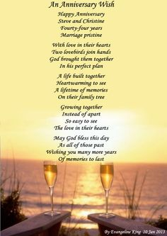 Free Anniversary Poems for Parents   25th 50th Wedding Anniversary ...