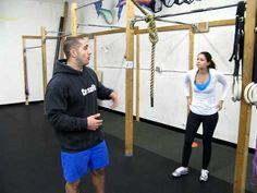 Crossfit Omaha, trainer Jason Khalipa teaches the proper technique for Kipping Pullups. This will help Peyton reach the crossbar of the goal box.