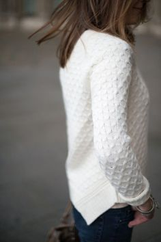 Erin, I love the look of this textured white sweater.
