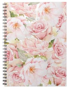 Pink Roses spiral notebook for romantic women! Great for a gift to a woman or girl!