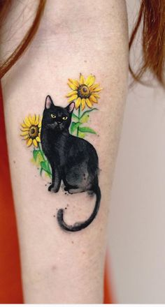19 Creative Pet Inspired Tattoos To Remember Your Best Friend-It doesn't Mat. - 19 Creative Pet Inspired Tattoos To Remember Your Best Friend It doesn't matter what kind of pet - Star Tattoos, Love Tattoos, Unique Tattoos, Body Art Tattoos, Pet Tattoos, Wing Tattoos, Watercolor Cat Tattoo, Watercolor Artists, Black Cat Tattoos
