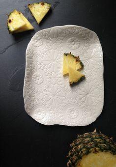 Handmade white porcelain ceramic platter with vintage lace crochet texture. Serving plate