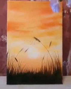 Oil Painting Flowers, Body Painting, Tree Painting Easy, Sun Painting, Spring Painting, Art Sur Toile, Diy Canvas Art, Painting Canvas, Sunset Acrylic Painting