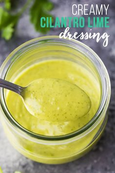 Creamy cilantro lime dressing is perfect to jazz up your salad. Fresh cilantro, avocado, garlic and lime make this so much better than store-bought! Vegan, gluten-free and paleo, plus a video to show you just how to make it. #sweetpeasandsaffron #dressng #mealprep #veganfriendly #glutenfree #dairyfree Cilantro Lime Vinaigrette, Cilantro Dressing, Lime Dressing, Salad Dressing, Vegan Meal Prep, Lunch Meal Prep, Meal Prep Bowls, Best Lunch Recipes, Favorite Recipes