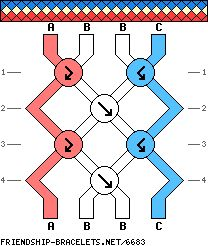4 strings, 4 rows, 3 colors