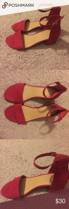 Red Velvet open toed heels size 8.5 Red Velvet open toed heels size 8.5. In great condition. The material on outside is a silky velvet material. Has a 2 inch heel and has buckles for the ankles. Shoes Heels