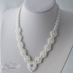 Pearl & crystal necklace Wedding necklace jewelry by LunaWishes