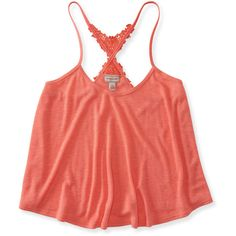 Aeropostale Lace-Back Ribbed Crop Swing Tank ($6.99) ❤ liked on Polyvore featuring tops, shirts, peach sand, crop tank, lace shirt, crop top, lace crop top and lace tank top
