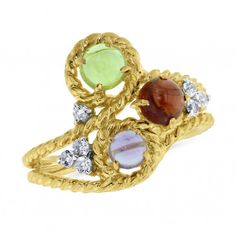 Viola, Round-cut Amethyst,Garnet,Peridot & White Topaz Ring in Sterling Silver Yellow Plated